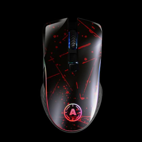 Aim Red Splatter RGB Mouse